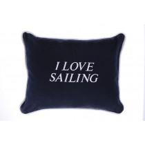 """Poduszka """"I love sailing"""" granatowa"""