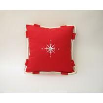 Poduszka z liną RÓŻA WIATRÓW czerwona