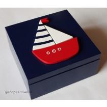 Pudełko zamykane granatowe z łódką