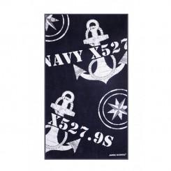 FREESTYLE ręcznik plażowy z poduszką Kotwice Granat