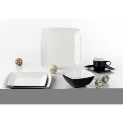 WYPRZEDAŻ! Zestaw obiadowy Quadrato Black&White dla 4 osób, 20 el.