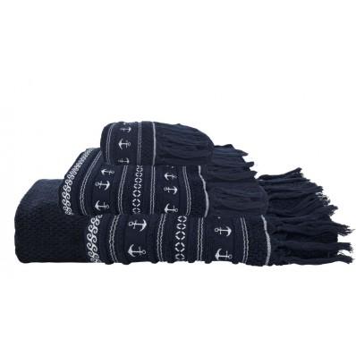 SANTORINI ręczniki 3szt. Kotwice -granatowe