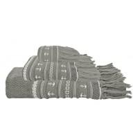 SANTORINI ręczniki 3szt. Kotwice -popielate
