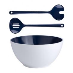 SUMMER BLUE miska do sałaty z łyżkami