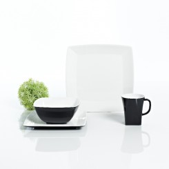Zestaw obiadowy Quadrato Black&White dla 4 osób, 16 el.