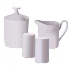 Zestaw Ivory - solniczka, pieprzniczka, dzbanek na mleko, cukierniczka (melamina)