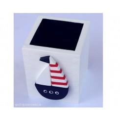 Pudełko biało-granatowe Łódka Navy Blue